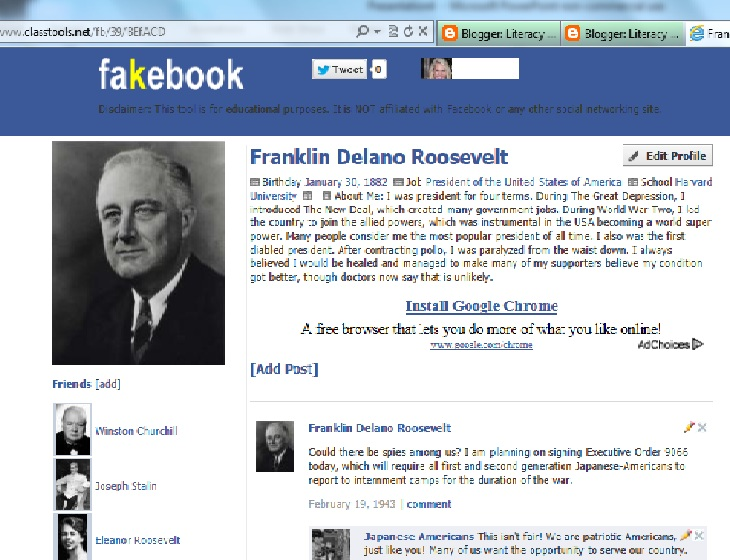 Using Fakebook The Big English Blog